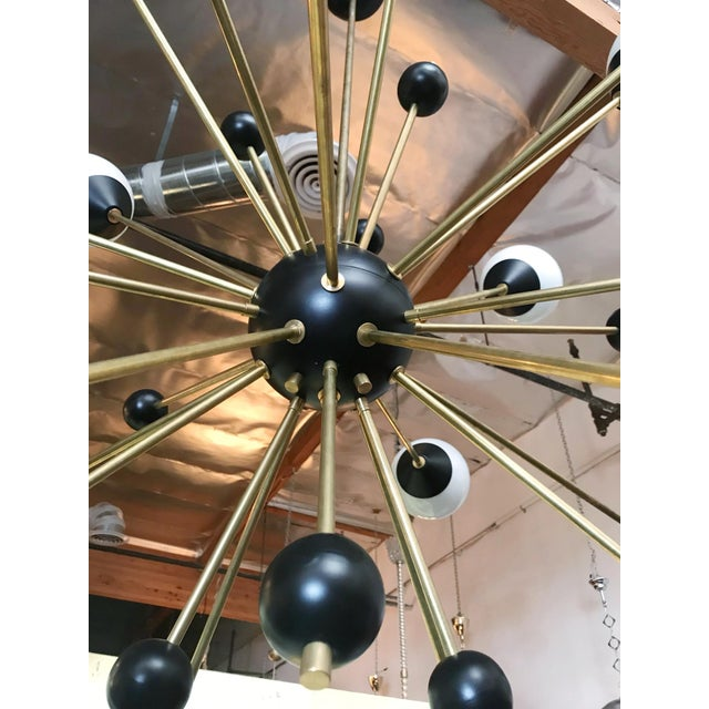 1960s Brass With White and Black Orbs Midcentury Sputnik Chandelier For Sale - Image 4 of 6