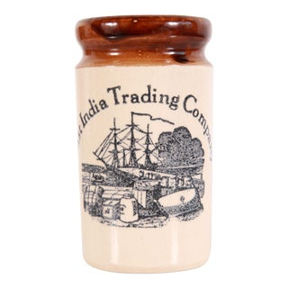 Vintage East India Trading Company British Colonial Stoneware Utensil Holder / Jar For Sale