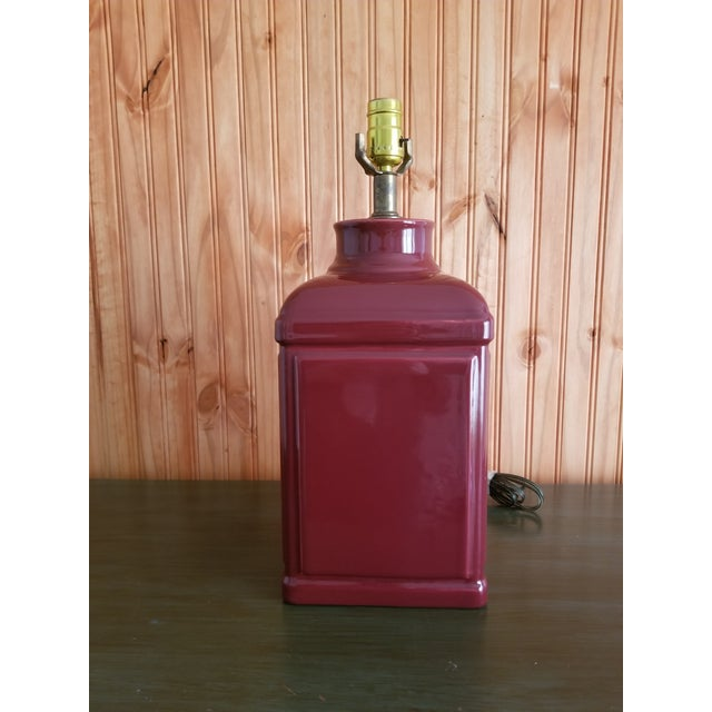 1970s 1970s Red Glass Square Body Table Lamp For Sale - Image 5 of 6