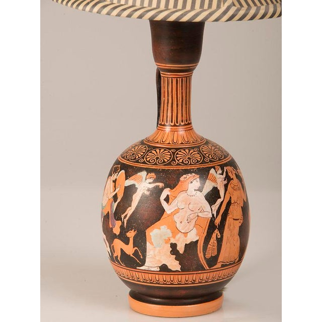 Ceramic 19th Century Greek Hand Painted Earthenware Amphora Lamp For Sale - Image 7 of 9