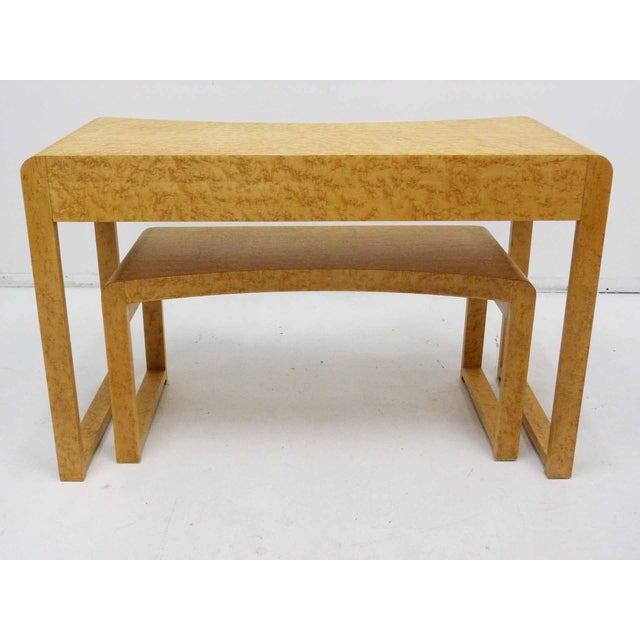Birds Eye Maple Burl Wood Desk & Bench - Image 7 of 11