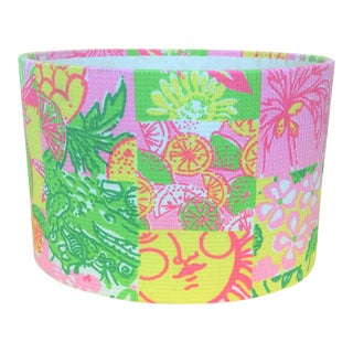 Lilly Pulitzer Patchwork Fabric Oval Stationary Holder For Sale