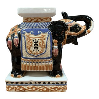 Vintage Chinoiserie Tabletop Ceramic Elephant For Sale