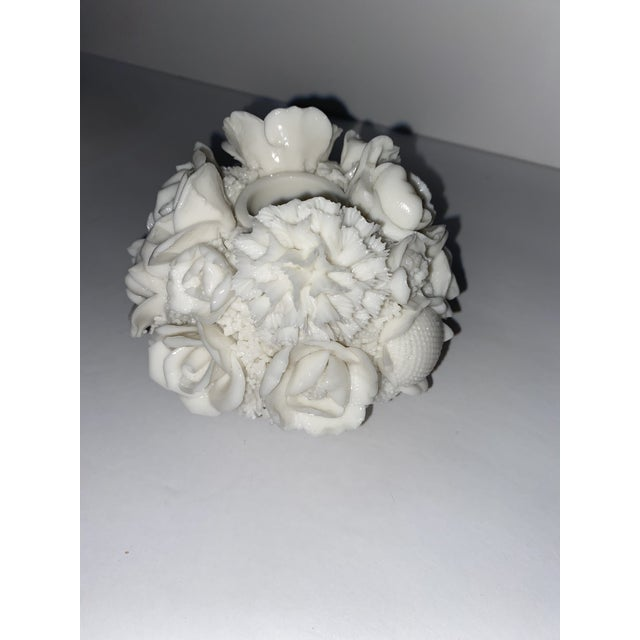 Vintage Capodimonte Style Milk Glass Rose Floral in Basket Candle Holder. Circa 1940s. Hope for tall candle in the middle....