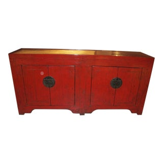 1900s Chinese Red Lacquered Sideboard