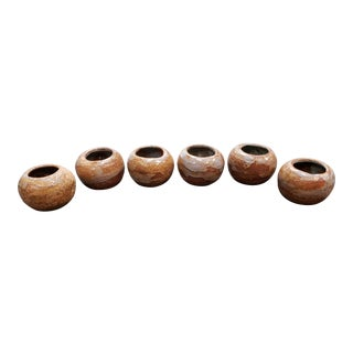 Mid 20th Century Japanese Bizen Ware Rotund Drinking Vessels - Set of 6 For Sale