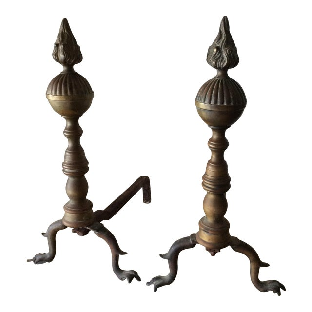 French Brass Flame Andirons - Pair For Sale