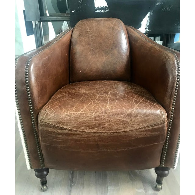 Regina Andrew Leather Cowhide Club Chair For Sale - Image 4 of 11
