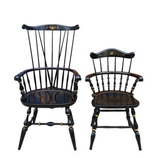 Nichols & Stone Floral Painted Black Windsor Comb Back Chairs - a Pair For Sale