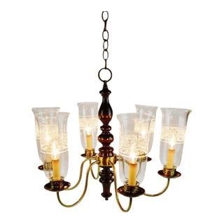 Vintage 6 Arm Wood Brass & Glass Chandelier For Sale