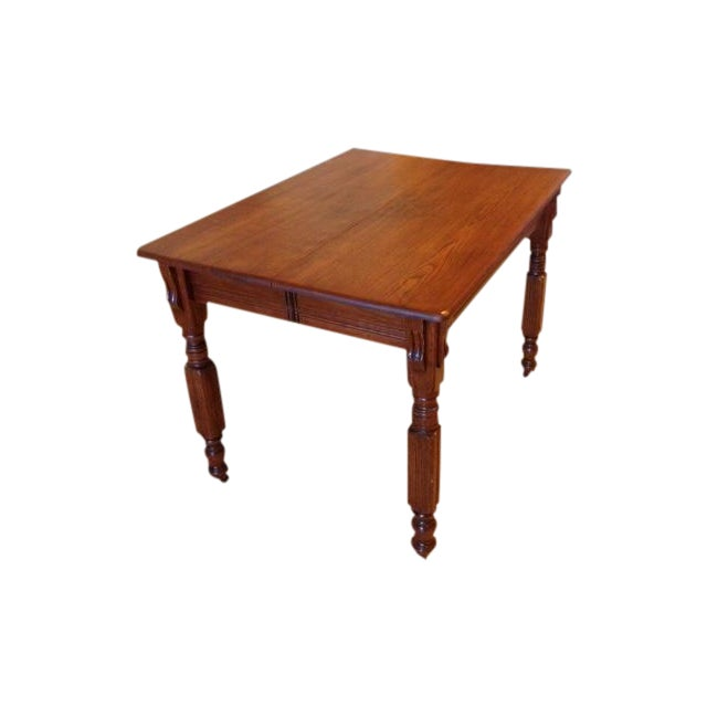 Antique 1900s Solid Wood Dining Table - Image 1 of 6