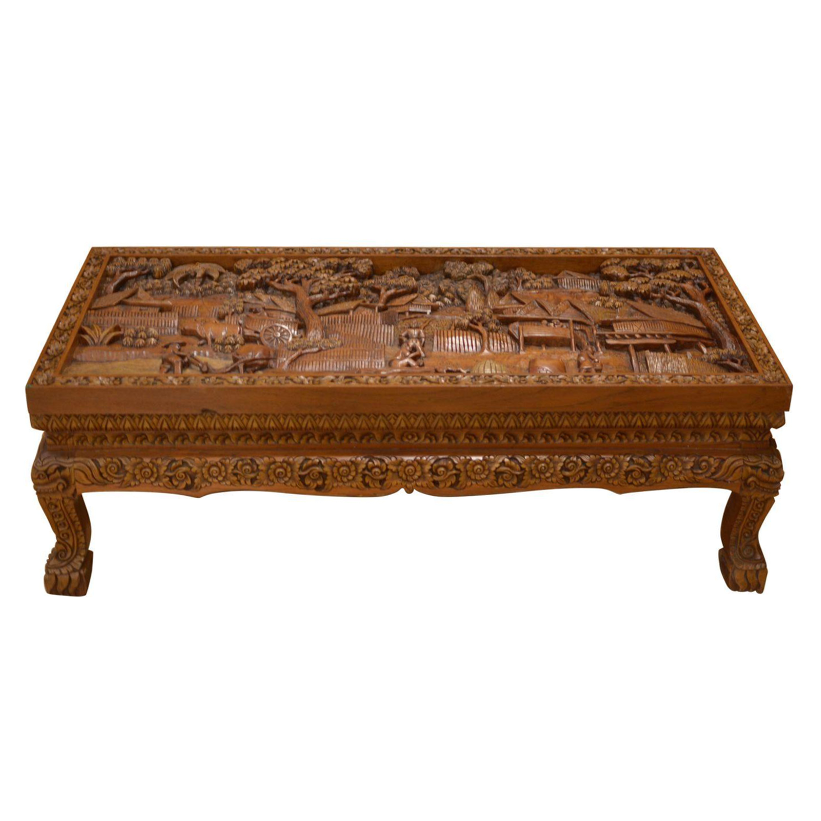 Asian Hand Carved Teak Coffee Table