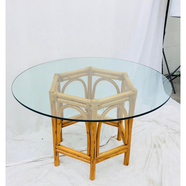 Vintage Bent Rattan & Glass Table For Sale - Image 12 of 12