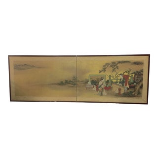 Antique Hand Painted Asian Screen For Sale