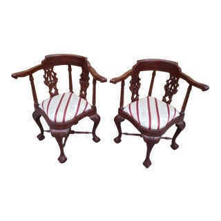1920s Hand Carved Solid Mahogany English Corner Chair Pierced Back Ball Claw - a Pair For Sale