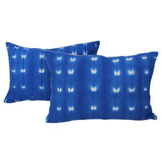 Indigo African Mud Cloth Pillows - A Pair
