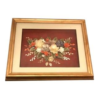 Vintage Gold Frame Floral Bouquet Shell Art For Sale