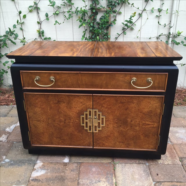 "Vintage Century Furniture ""Chin Hua"" buffet/server/bar cabinet. Burled wood panels on all sides. Fold out top, dovetail..."