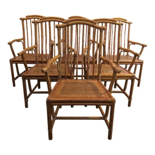 1980s Vintage Chinoiserie Style Dining Chairs- Set of 6 For Sale