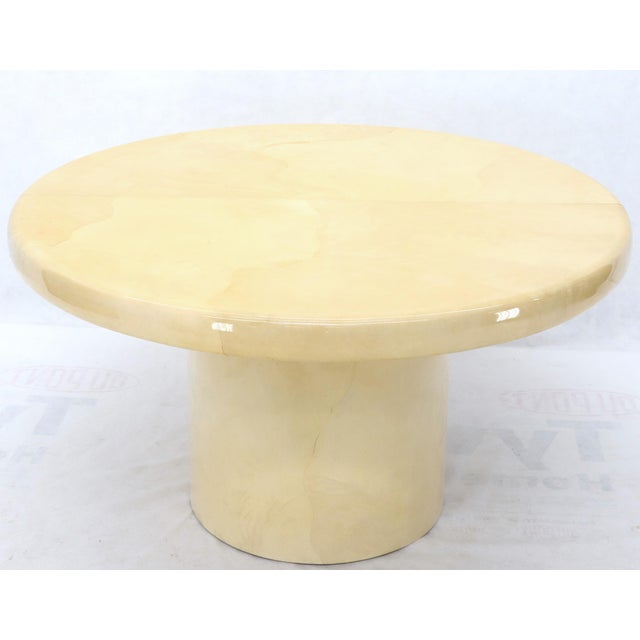 Large Round Lacquered Parchment Goat Skin Cylinder Base Dining Table 2 Leaves For Sale - Image 12 of 13