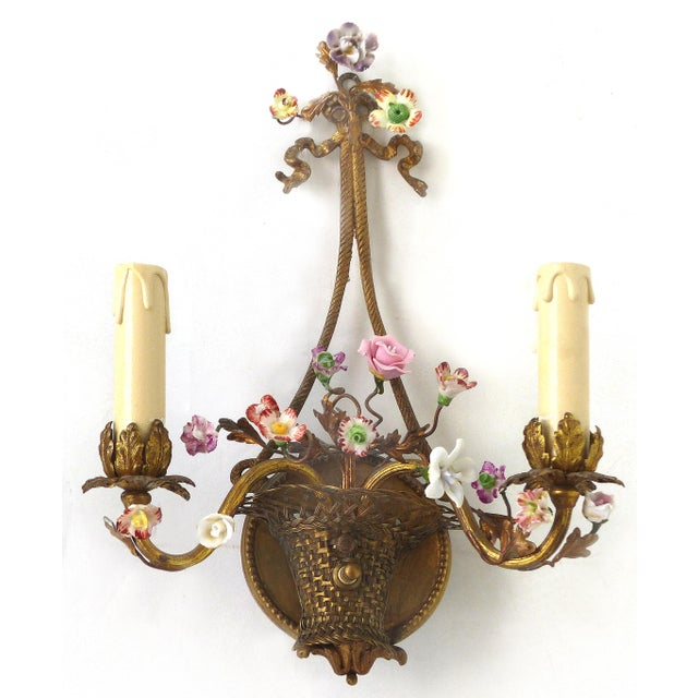 French Antique French Bronze and Porcelain Floral Basket Sconces - a Pair For Sale - Image 3 of 10