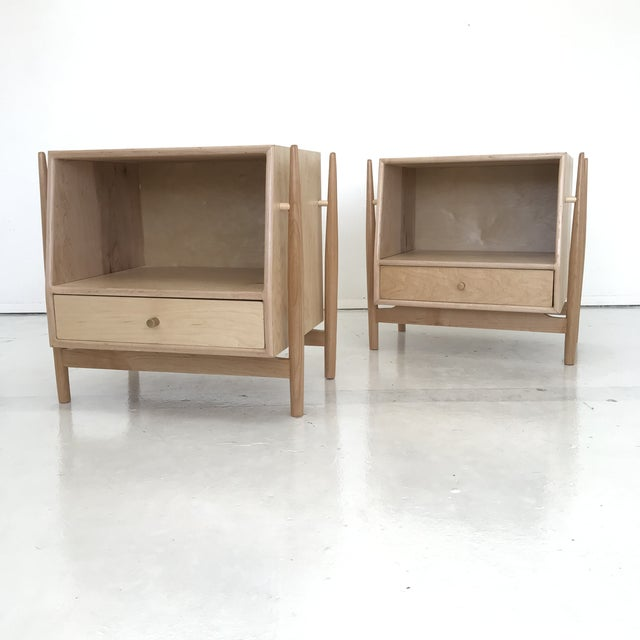 Handmade Sculptural Nighstands in Maple For Sale - Image 13 of 13