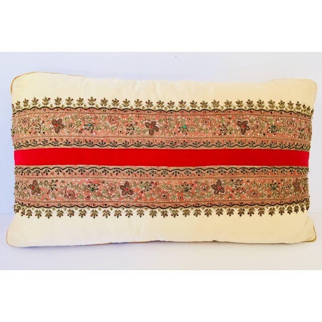 Gold Decorative Ivory Color Silk Throw Pillow Embellished With Beads For Sale - Image 8 of 10
