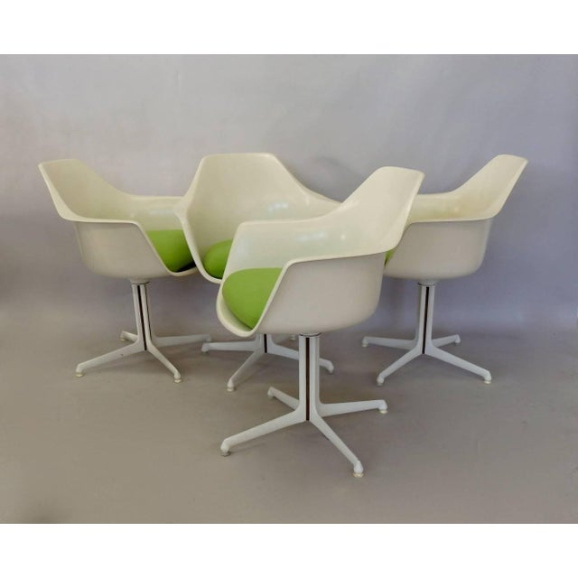 Burke White Fiberglass Swivel Dining Chairs - Set of 4 For Sale In Detroit - Image 6 of 6