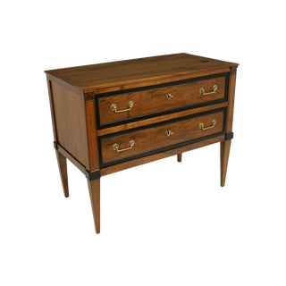 18th Century French Walnut Commode With Ebonized Trim and Brass Pulls For Sale