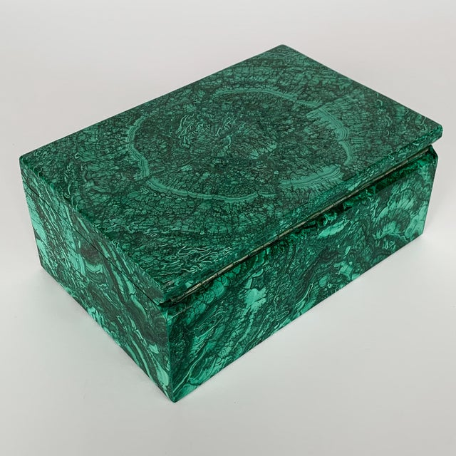 Large Modern Malachite Stone Jewelry Box For Sale In Chicago - Image 6 of 13