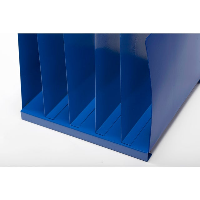 Cole Steel 1970s Desktop File Holder, 5 Slot, Refinished in Blue For Sale - Image 4 of 7
