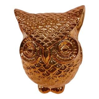 Vintage Golden Owl Ceramic Statue