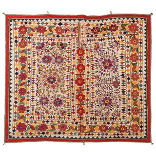 Mirrored Hand Embroidered Textile From India For Sale