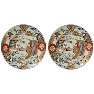 Meiji Imari Chargers With Court Decoration For Sale