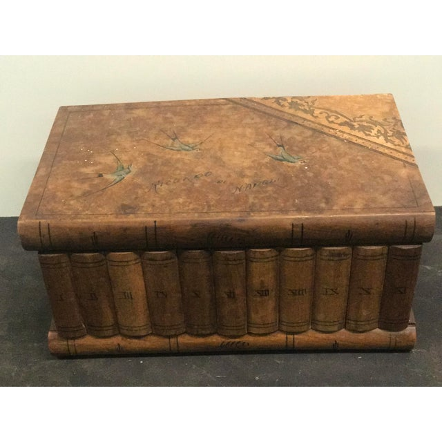 Italian Wooden Faux Book Jewel Box For Sale - Image 3 of 9