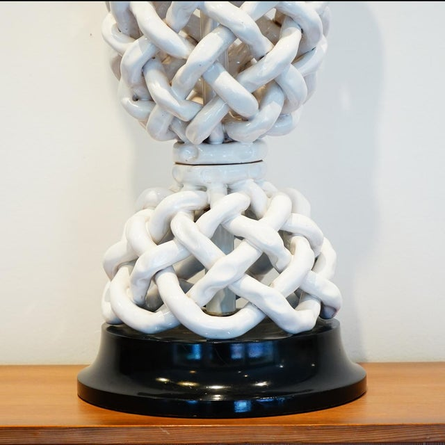 Italian Italian Basket Weave Table Lamp For Sale - Image 3 of 5