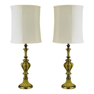 Pair of Rembrandt Brass and Antiqued Saffron Yellow Table Lamps For Sale