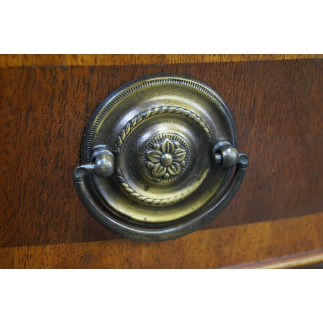 Mahogany Inlaid Leather Top Round Federal Style Coffee Table - Image 6 of 10