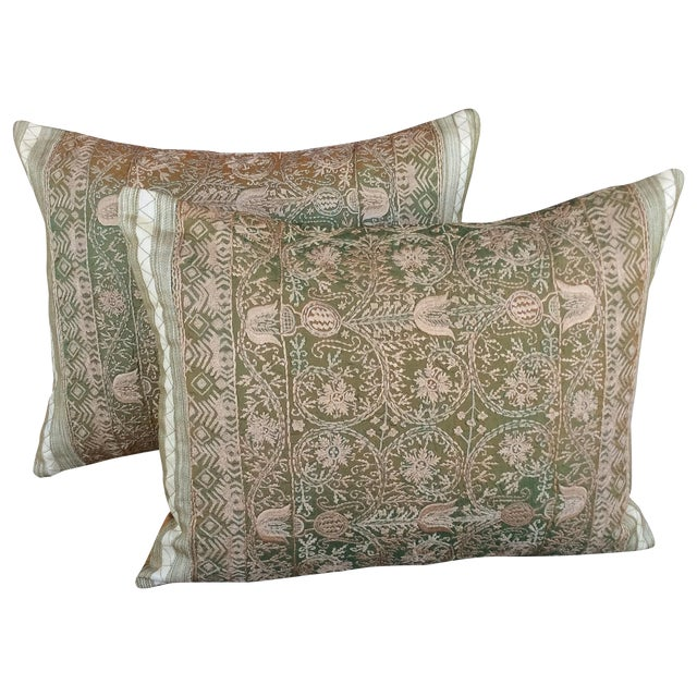 Embroidered Silk Pillows - 2 - Image 1 of 4