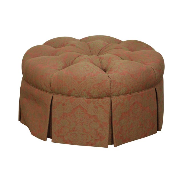 Custom Upholstered Round Tufted Ottoman For Sale - Image 11 of 11