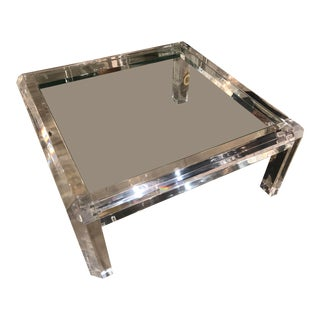 Vintage 1970s Hollywood Regency Polished Beveled Lucite Coffee Cocktail Table with New Inset Glass Top For Sale