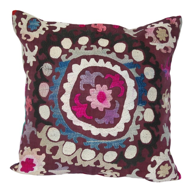 Vintage Handmade Needlework Suzani Throw Pillow Cover For Sale