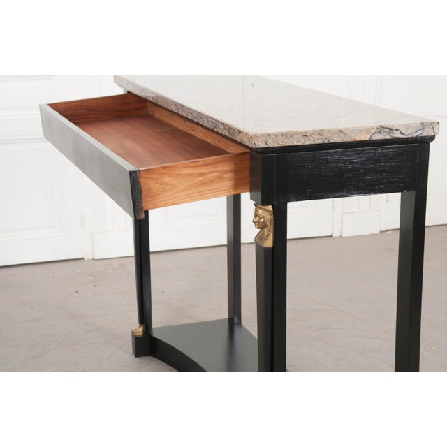 French 19th Century Empire Style Marble Top Ebonized Console For Sale In Baton Rouge - Image 6 of 12