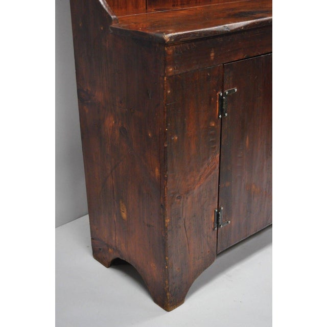 Antique Country Primitive Knotty Pine Cupboard Cabinet Sideboard Stepback Hutch For Sale - Image 11 of 12