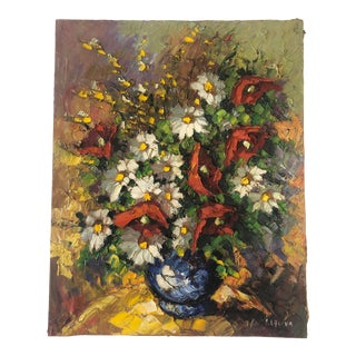 Vintage European Abstract Still Life of Flowers in a Vase, Signed by Artist For Sale