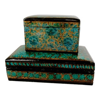 Vintage Kashmir Lacquer Box Set - 2 Pieces For Sale