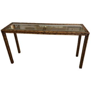 Handsome Mid-Century Modern Faux Bois and Caned Console Table For Sale