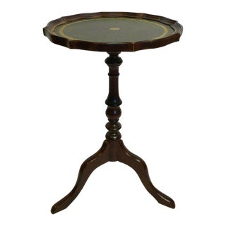 Wooden Drinks Table With Tooled Leather Top
