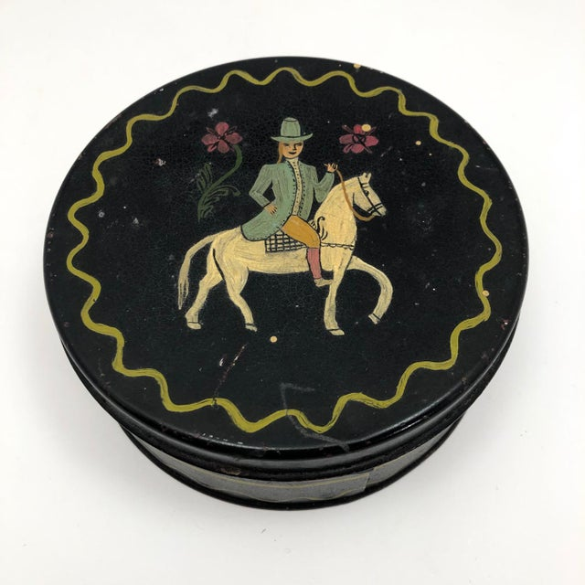 Early 20th Century Antique Hand-Painted Woman on Horse Round Tin Box For Sale - Image 10 of 10