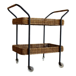 Carl Aubock Style Mid-Century Italian Rattan Wicker Bar Cart Trolley